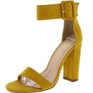 Shoes - 🆕Mustard Yellow Large Buckle Ankle Strap Sandal